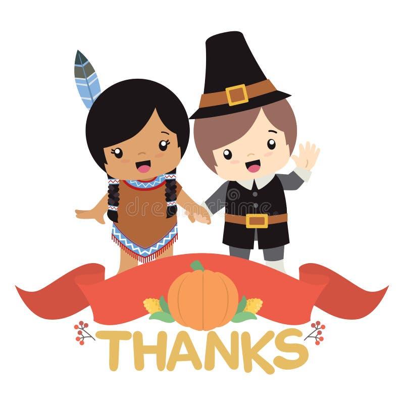 握有感恩装饰和横幅传染媒介例证卡片的当地美洲印第安人女孩和香客男孩手 免版税库存图片