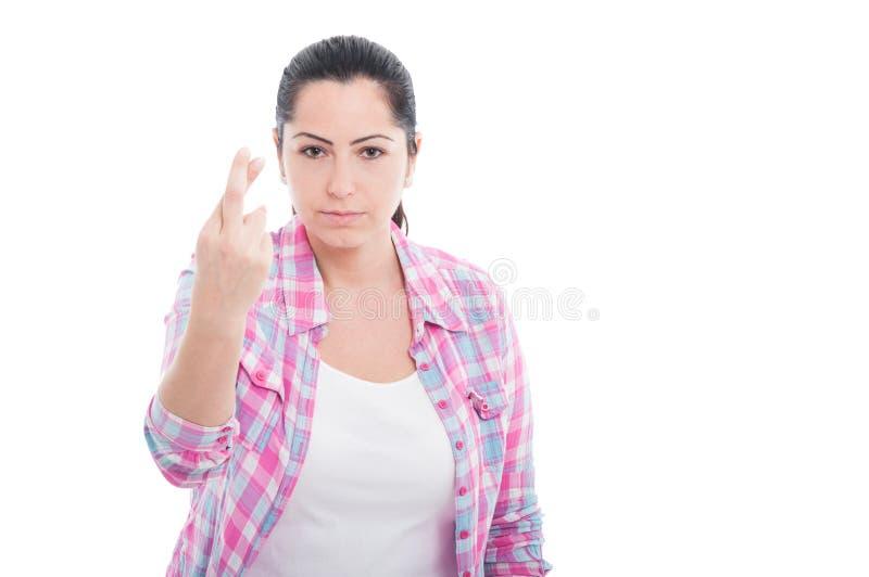 握的年轻女性画象但愿 免版税库存图片