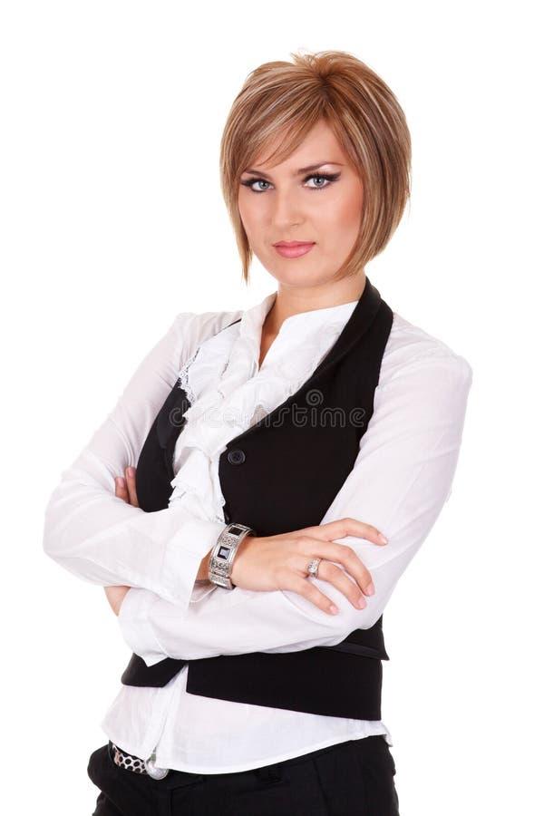 握胳膊的确信的女实业家画象横渡 库存照片