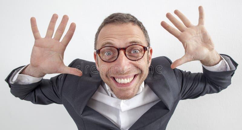 握他的说的乐趣40s经理手不负责任 免版税库存图片