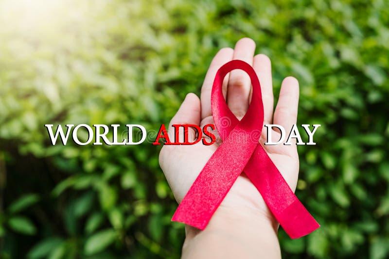 援助了悟标志红色丝带,与艾滋病标志的战斗在妇女手上 免版税库存图片