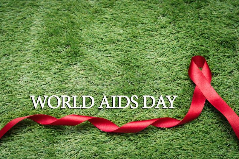援助了悟标志红色丝带,与艾滋病标志的战斗在绿草 免版税库存照片
