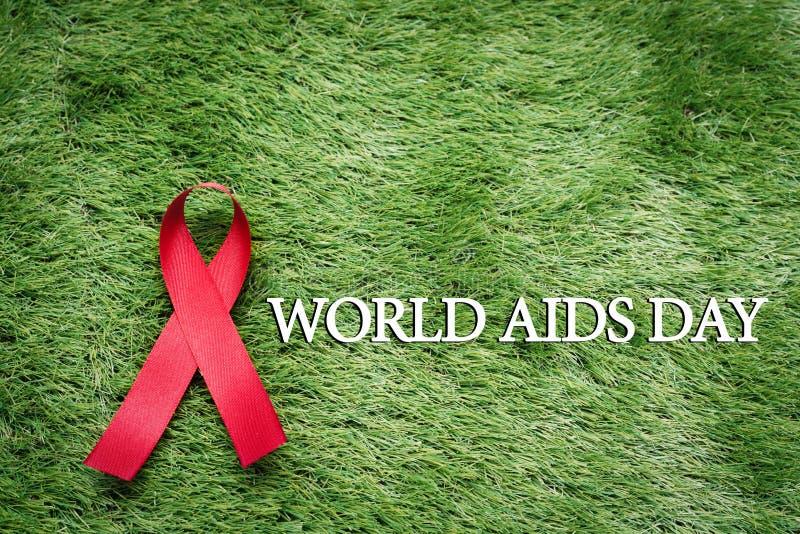 援助了悟标志红色丝带,与艾滋病标志的战斗在绿草 库存照片