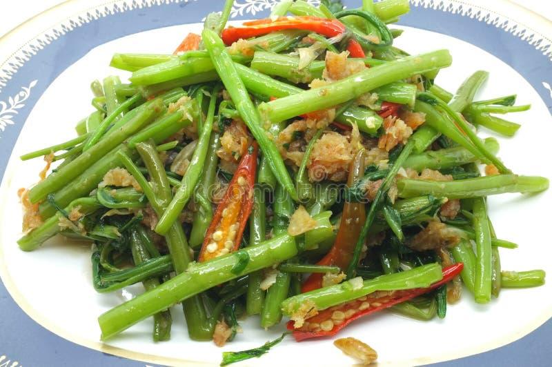 搅动油煎的水菠菜/牵牛花用干虾/海鲜,泰国食物 免版税图库摄影