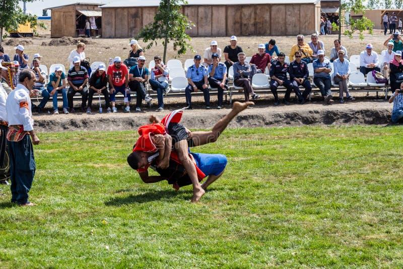搏斗的Aba是一传统土耳其搏斗 库存照片