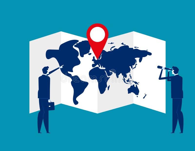 搜寻与别针的地图的企业队 r Pin,搜寻 皇族释放例证