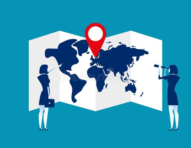 搜寻与别针的地图的企业队 r Pin,搜寻 库存例证