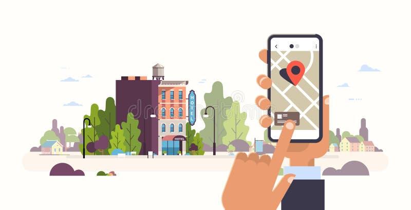 搜寻在城市地图的手藏品智能手机旅馆预定概念旅舍大厦外部流动应用程序gps点 向量例证