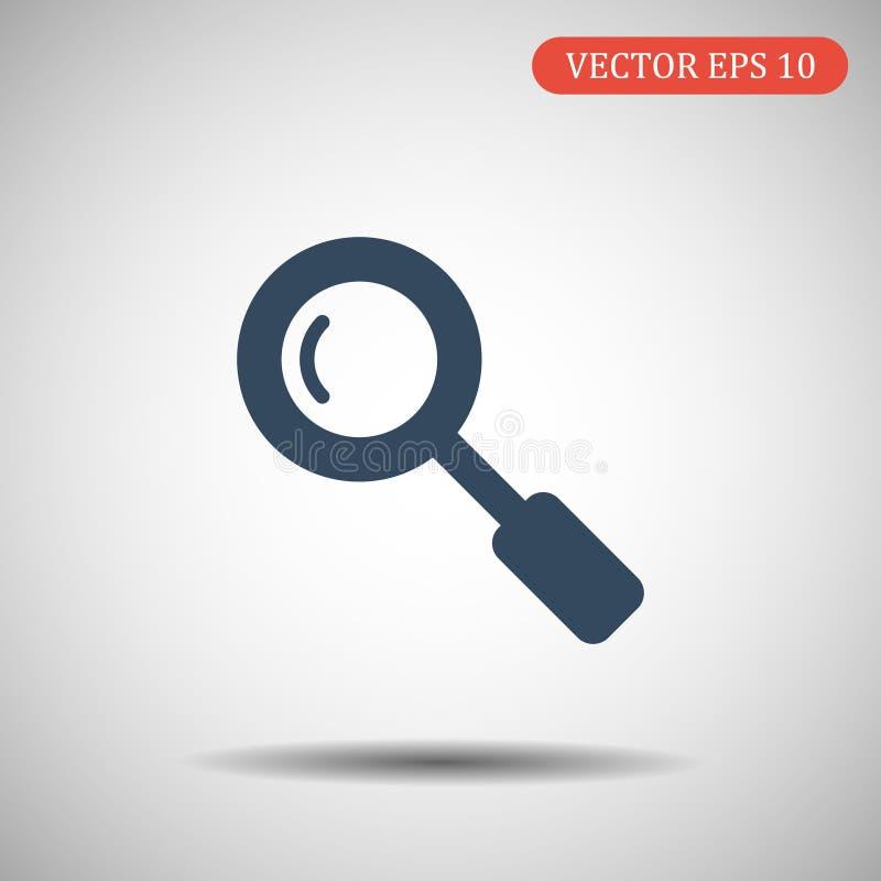 搜寻在时髦平的样式的象在灰色背景 您的网站设计的放大镜标志,商标, app, UI 库存例证