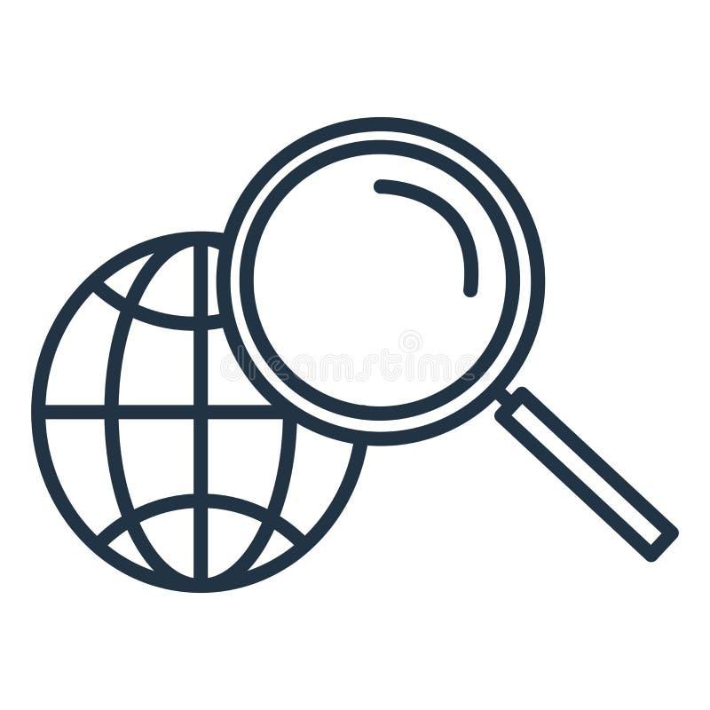 搜寻在白色背景隔绝的象传染媒介,查寻标志 免版税图库摄影