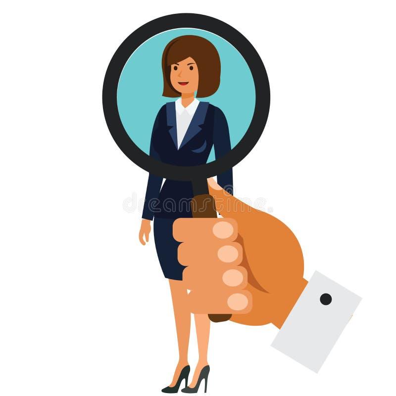 搜寻在被隔绝的白色背景的女实业家概念动画片平的传染媒介例证概念 库存例证