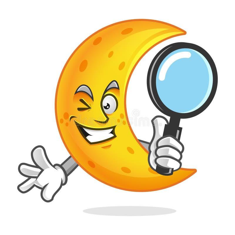 搜寻拿着放大镜,月亮字符的月亮吉祥人, 库存例证