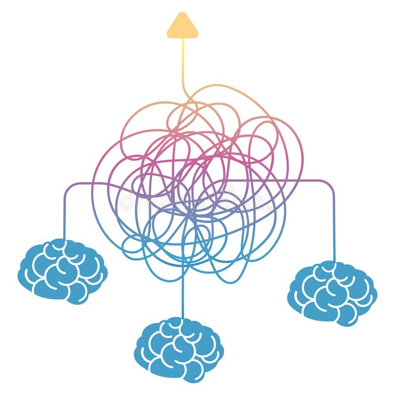 搜寻方式、对组织工作或者突发的灵感 向量例证