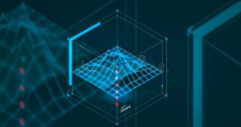 搜寻概念扫描的hud未来数据查寻技术报告的科学幻想小说hud数据分析大数据 库存例证