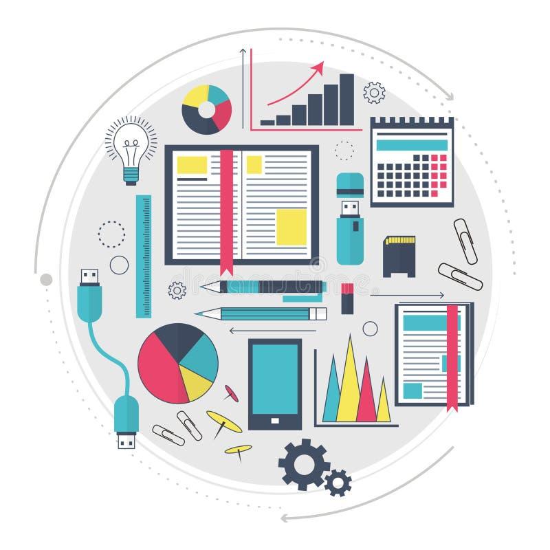 搜索引擎优化服务, SEO数据逻辑分析方法和主题词过程象  网站或infographics的现代概念 T 向量例证