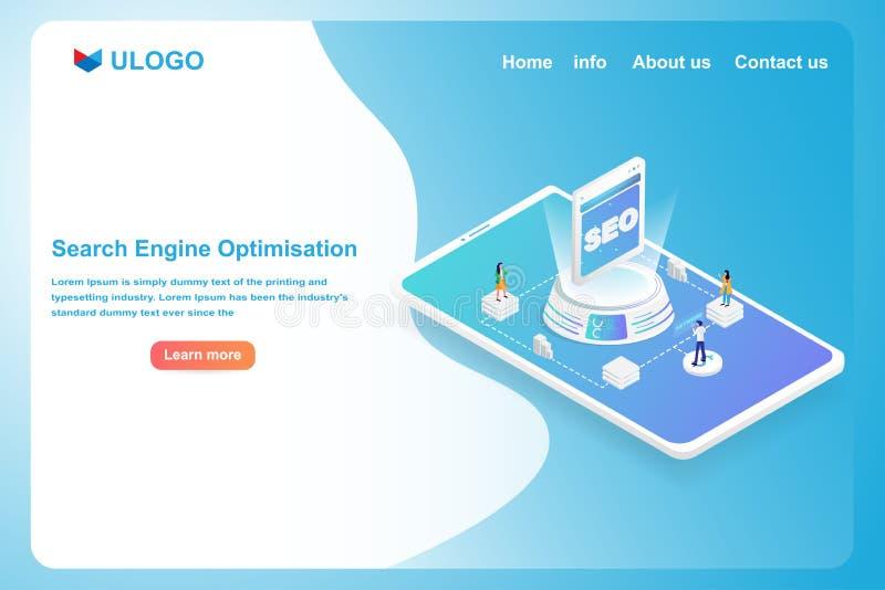 搜索引擎最优策略概念 等量3D未来派数字输入主题词对SEO技术 现代财政和 库存例证