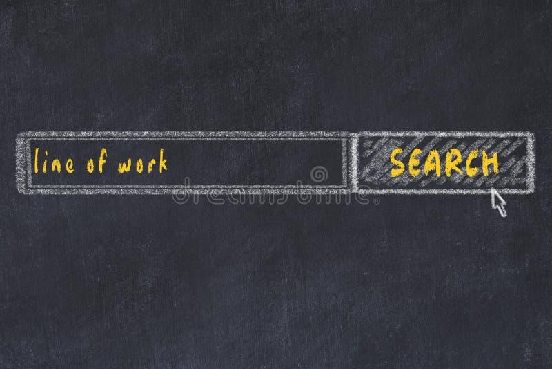 搜索浏览器窗口的黑板图及题字线 图库摄影