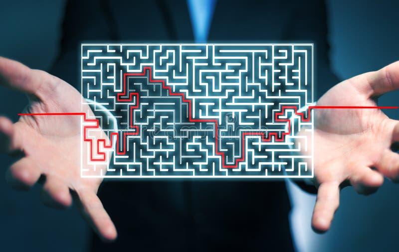 搜寻一个复杂的迷宫的解答的商人 库存例证