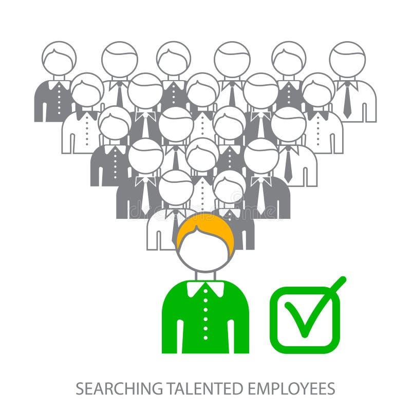 搜寻专业雇员 搜寻有天才的雇员 选择工作的完善的候选人 向量例证