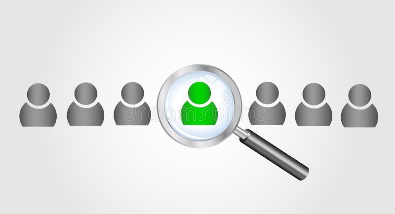 搜寻人的放大镜。浓缩的工作查找 库存例证