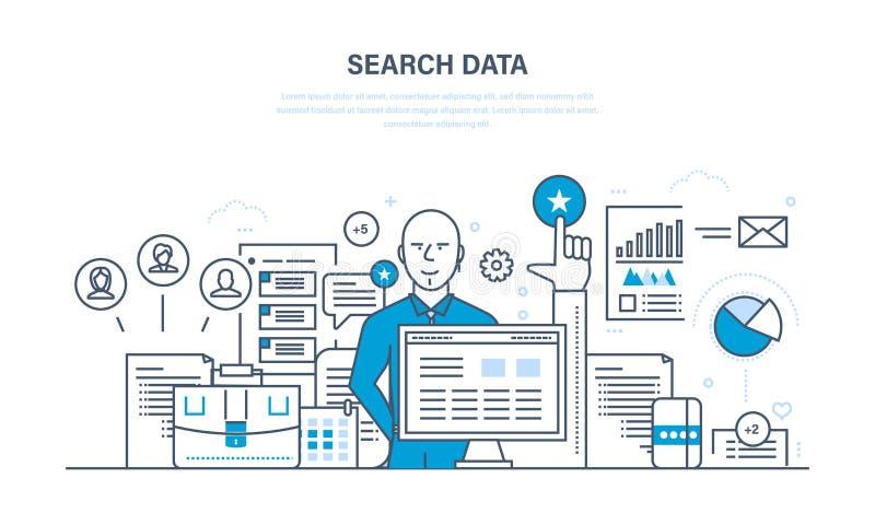 搜寻数据、来源显示的分析和研究 向量例证