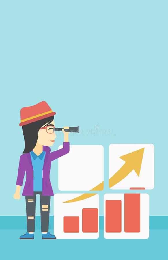 搜寻机会的妇女企业成长 向量例证