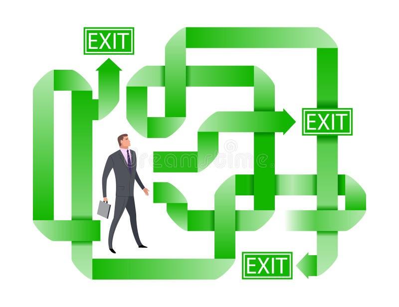 搜寻正确的出口的商人 怀疑选择最佳的解答的商人 向量例证