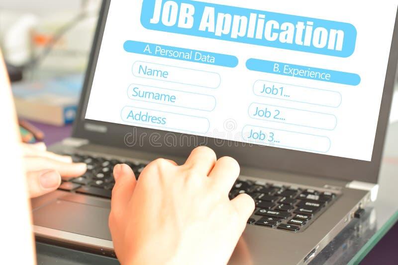 搜寻的工作申请书网上平台一个新的工作地点 免版税图库摄影