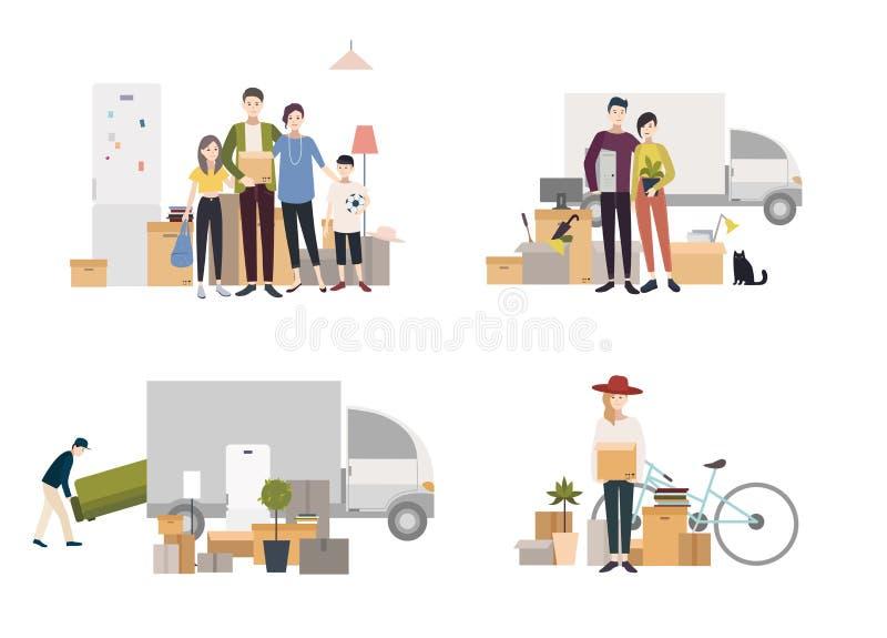搬入有事的一个新房的人们 套在平的样式的图象 库存例证