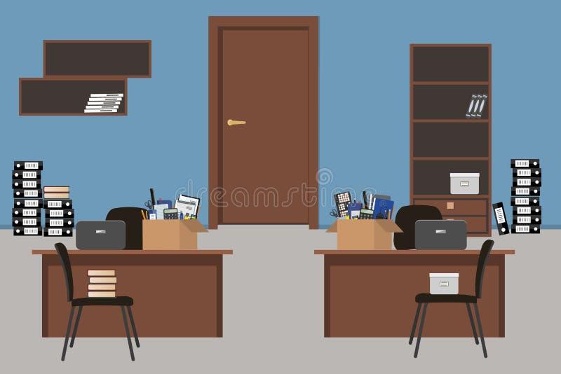搬到一个新的办公室 蓝色办公室室 向量例证