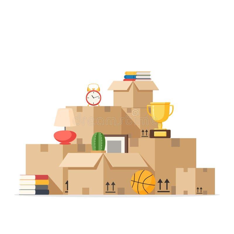 搬到与箱子新的家 向量例证