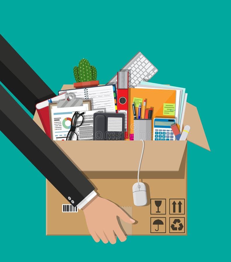 搬到新的办公室 手中的纸板箱 库存例证