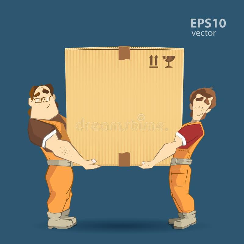 搬家工人和大箱子 库存例证