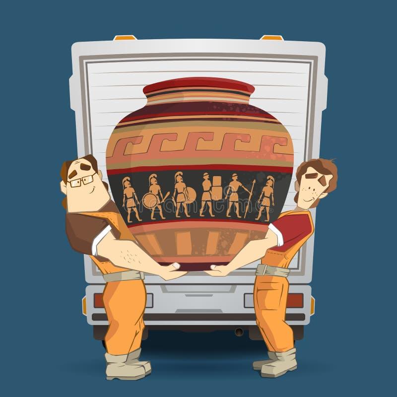 搬家工人和搬运车和花瓶 向量例证