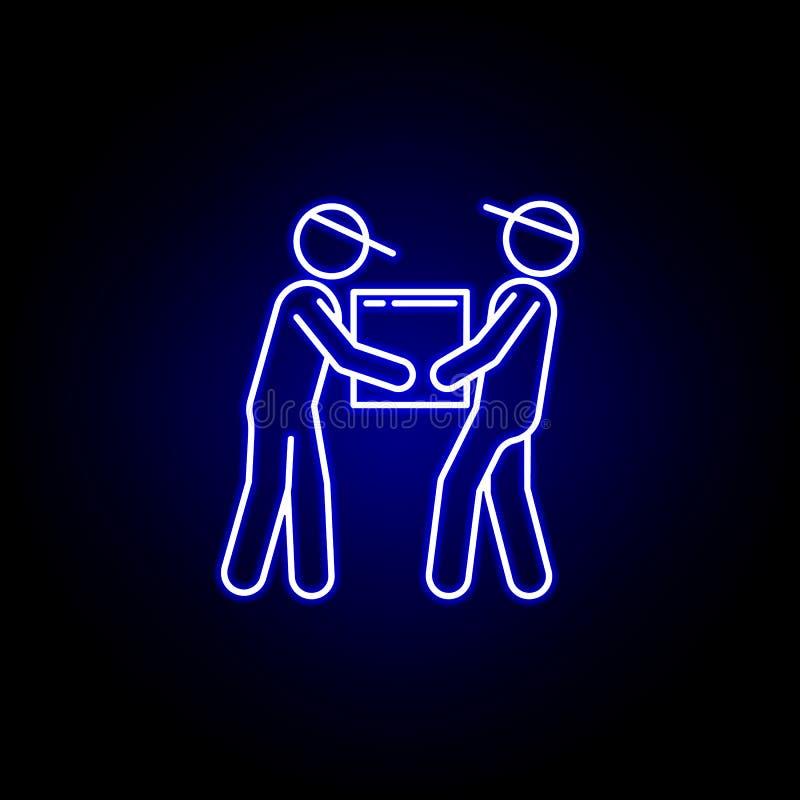 搬家工人在蓝色霓虹样式的小包线象 设置后勤学例证象 标志,标志可以为网,商标,机动性使用 皇族释放例证