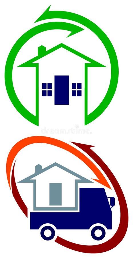 搬家工人被设置的商标设计 向量例证