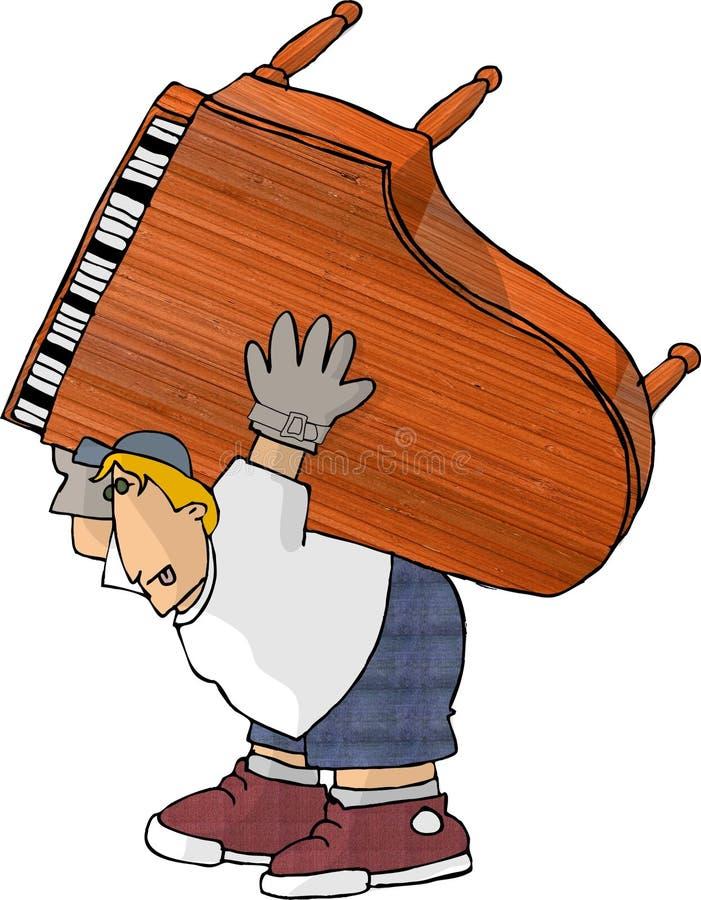 搬家工人钢琴 皇族释放例证