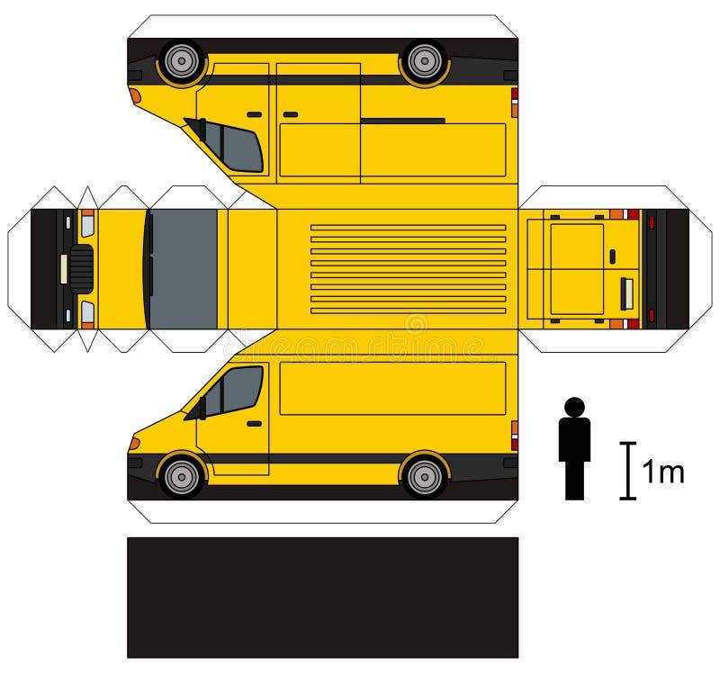 一辆黄色送货车的纸模型