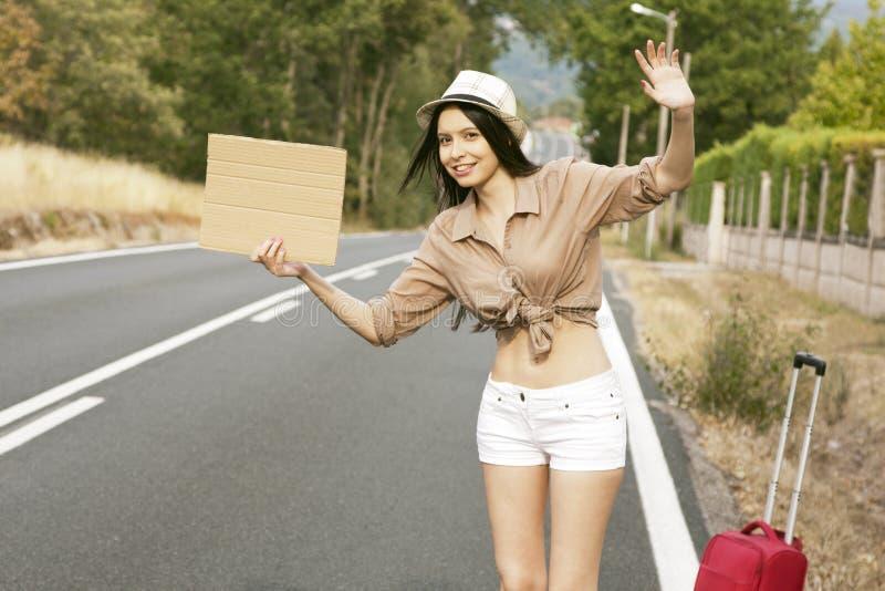 搭车在路 库存图片