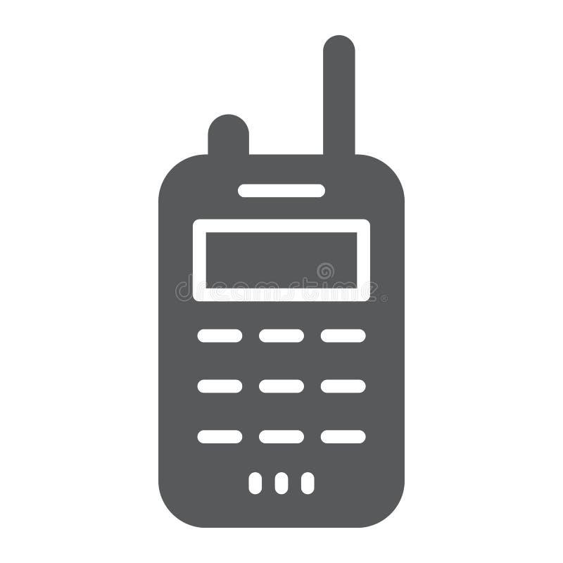 携带无线电话纵的沟纹象、发射机和通信,收音机标志,向量图形,在白色的一个坚实样式 向量例证