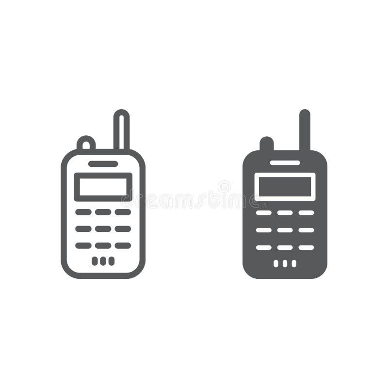 携带无线电话线和纵的沟纹象、发射机和通信,收音机标志,向量图形,在a的一个线性样式 皇族释放例证