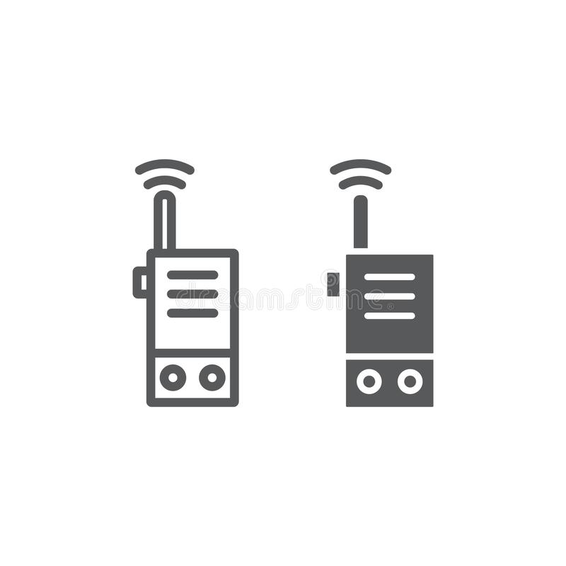 携带无线电话线和纵的沟纹象、安全和通信,收音机标志,向量图形,在a的一个线性样式 库存例证