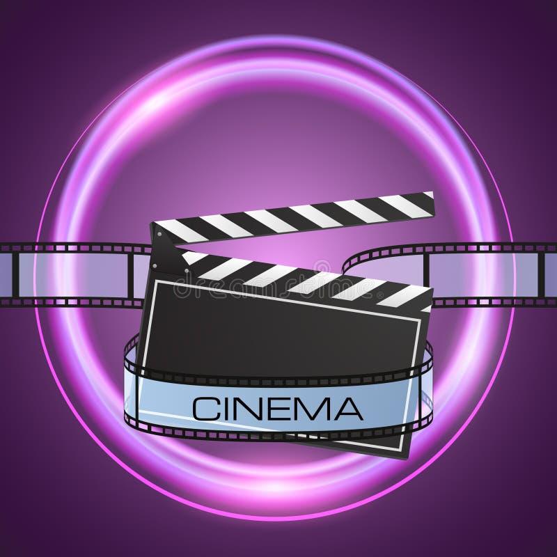 摄制小条和clapperboard在抽象紫色背景 库存例证