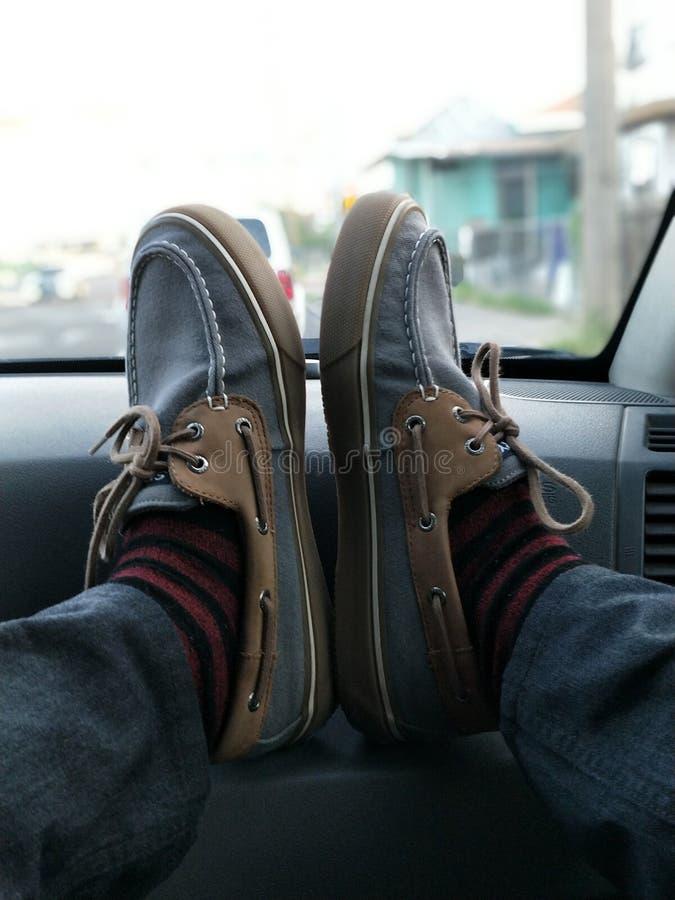 摄影便鞋和红色袜子 免版税图库摄影
