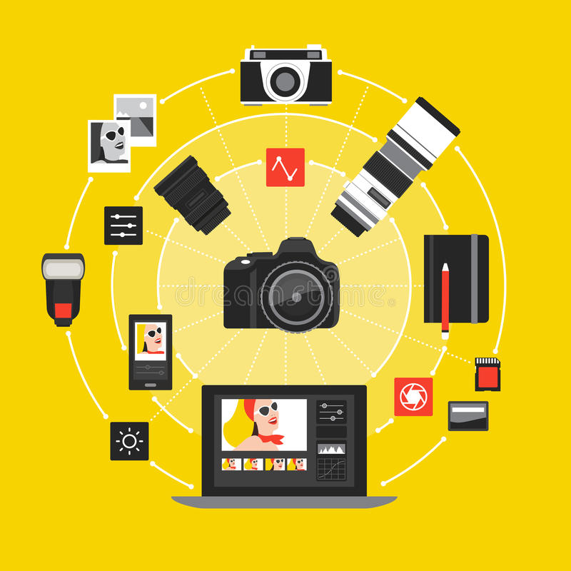 摄影和postproduction 向量例证