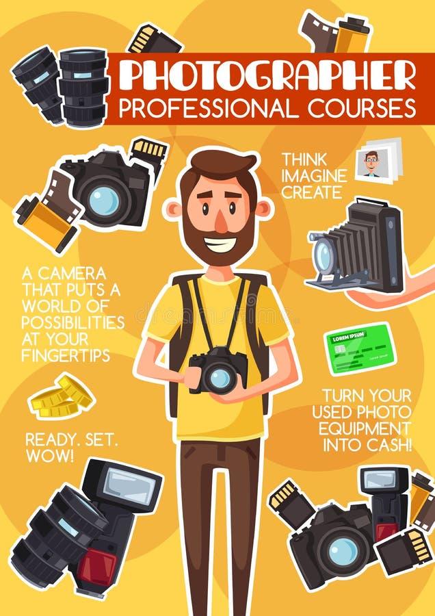 摄影师专业路线学校海报 向量例证