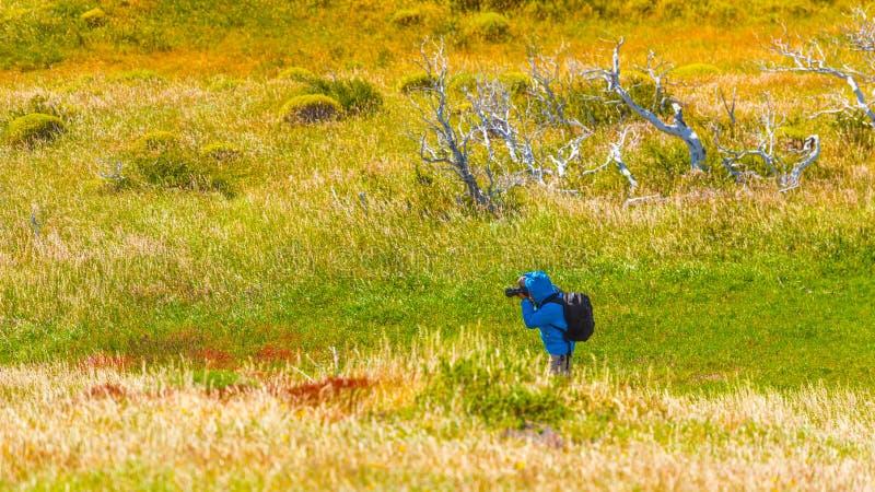 摄影师为山风景,百内国家公园,巴塔哥尼亚,智利,南美洲照相 免版税图库摄影