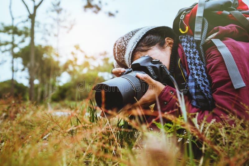 摄影师亚裔妇女旅行的照片自然 旅行在森林旅行的假日步行放松在假日放松 免版税图库摄影