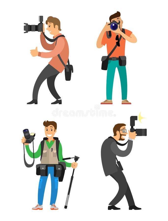 摄影师和无固定职业的摄影师有数码相机的 向量例证
