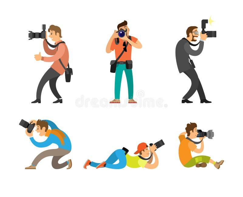 摄影师和无固定职业的摄影师有照片照相机的 皇族释放例证